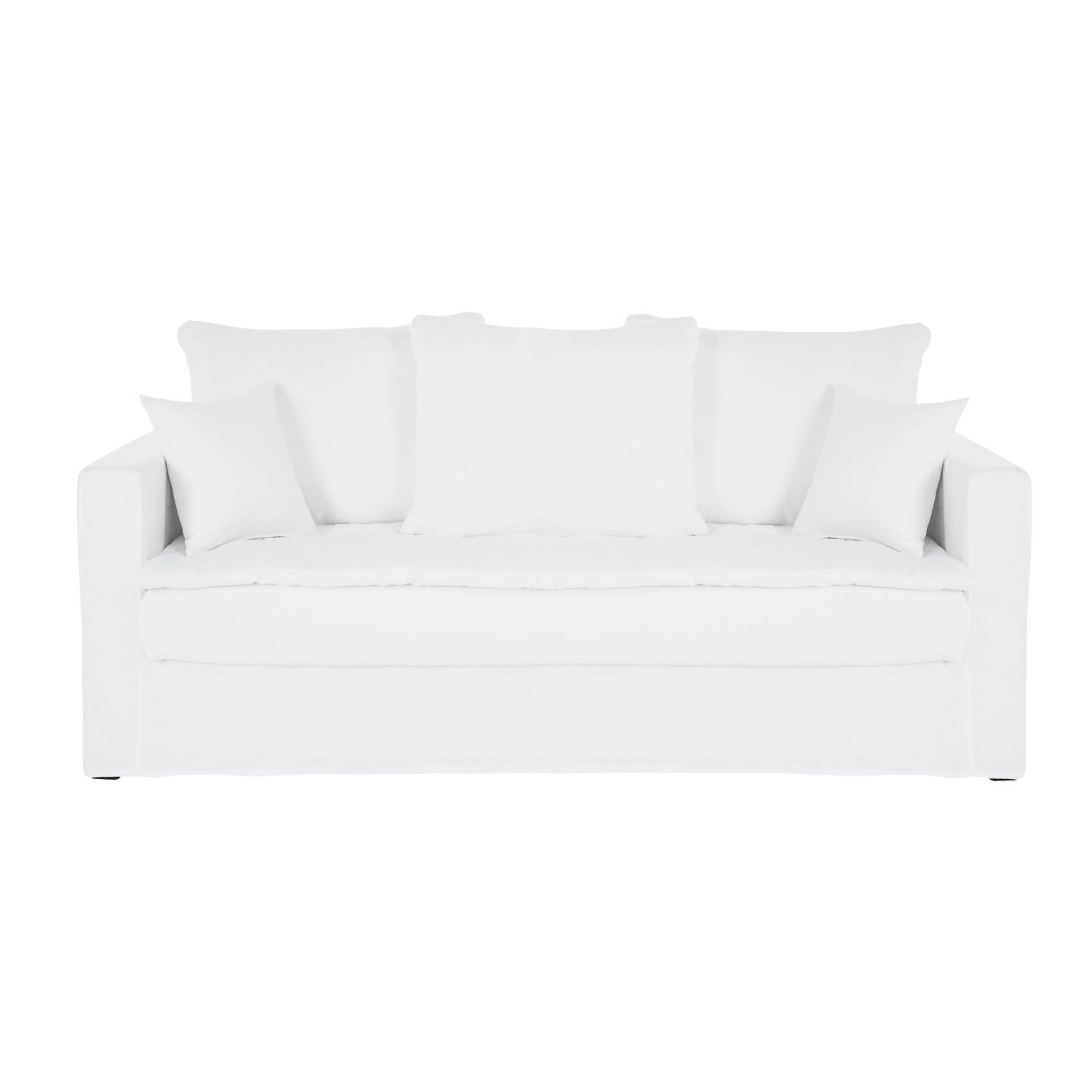 White 3 Seater Washed Linen Sofa Bed In 2019 Furniture Linen
