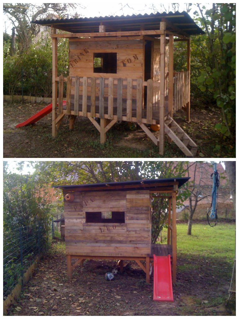 Here is my kid's house made with several pallets. Dimension are : 2.5 m x 2.50 m. I added a toboggan on one side and a stair on the other. Idea sent by dumont frederic !