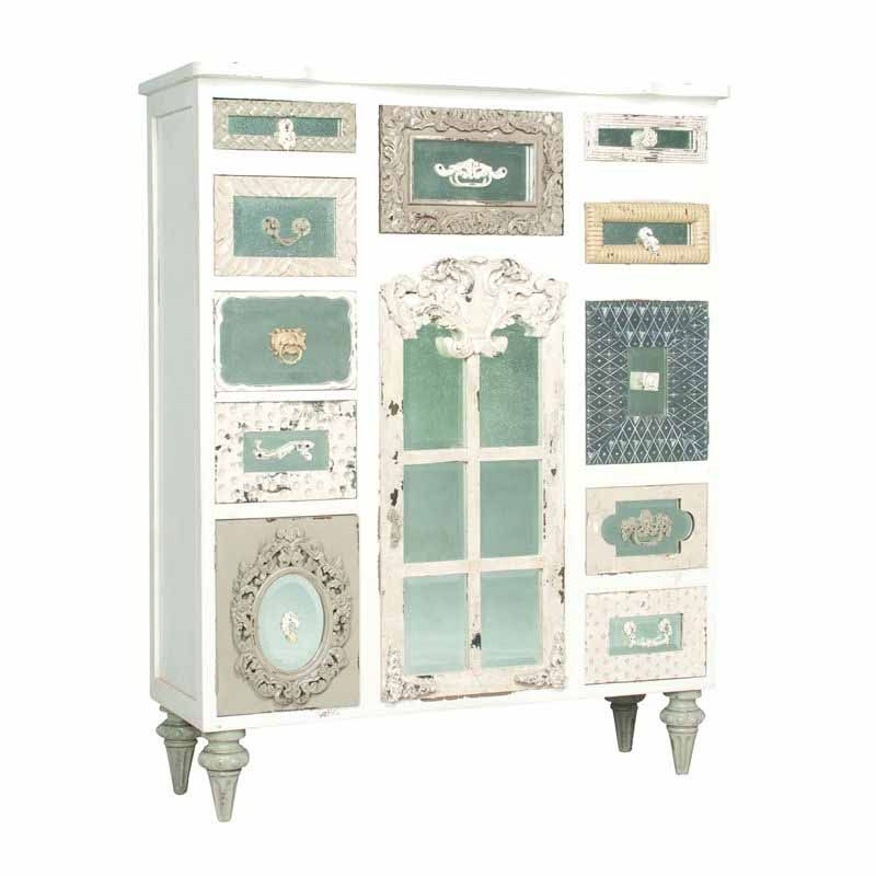 Tall White Mirrored Mahogany Chest with Mismatching Drawer Fronts ...