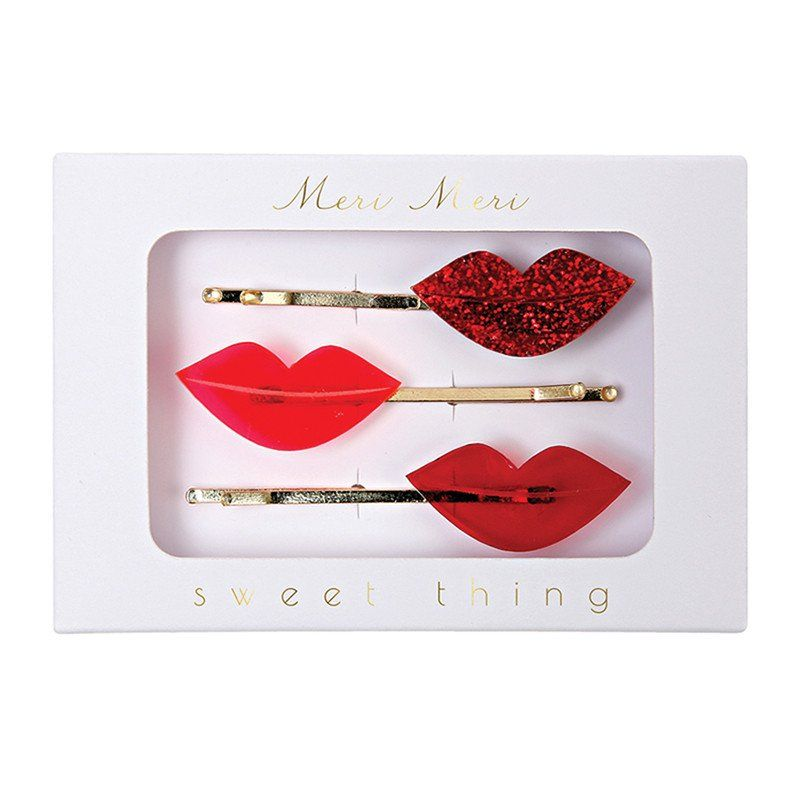 Meri Meri, Lip Hair Pins - Sunday in color