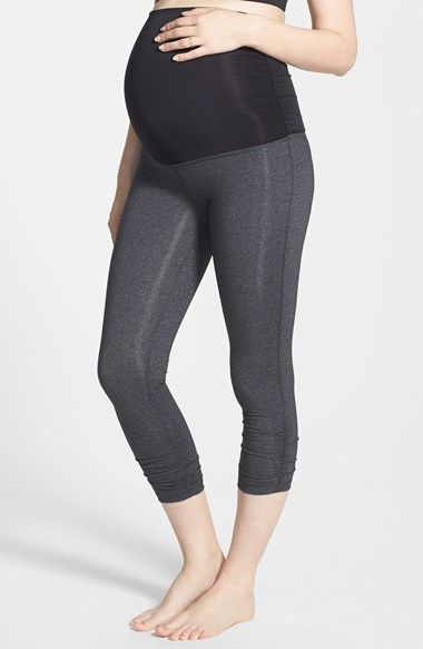 Beyond Yoga Foldover Shirred Maternity Capri Leggings