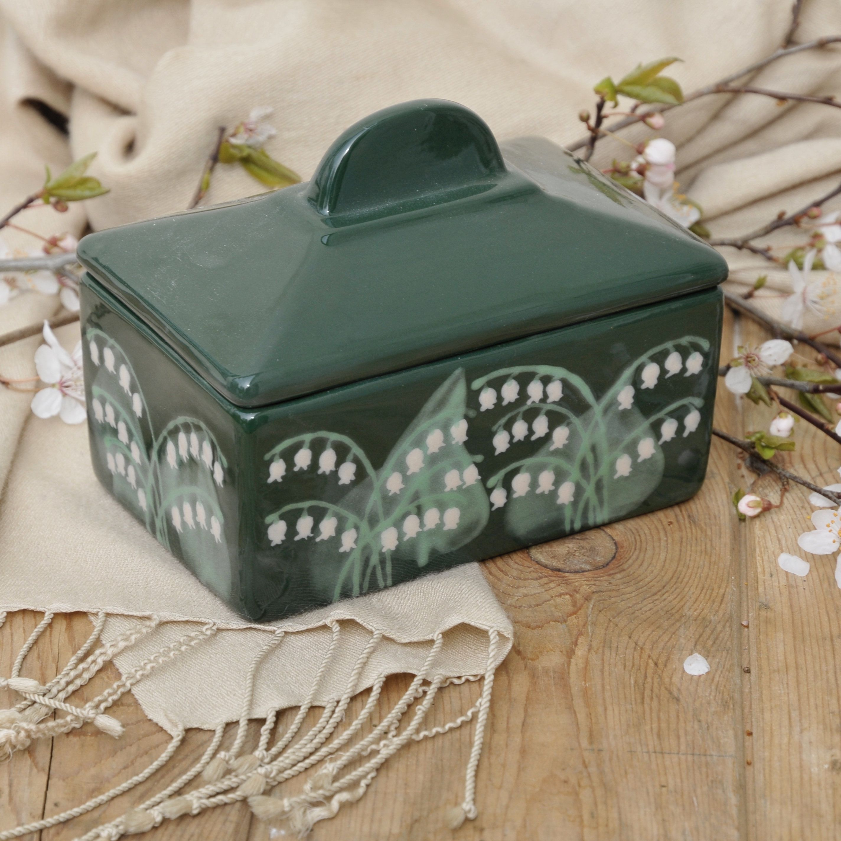 Lily of the Valley Butter Dish Lily of the valley