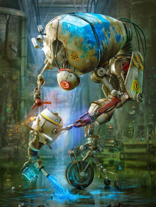Painting robots by Gleb Alexandrov. (via Blender tutorials: Painting robots)