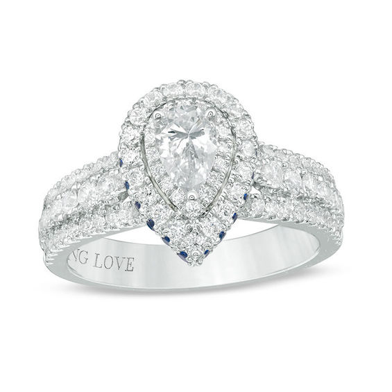 Vera Wang Love Collection 0 95 Ct T W Pear Shaped Diamond And Sapphire Double Frame Engagement Ring In 14k White Gold Peoples Jewellers In 2020 Vera Wang Engagement Rings Pear Shaped Engagement Rings Engagement