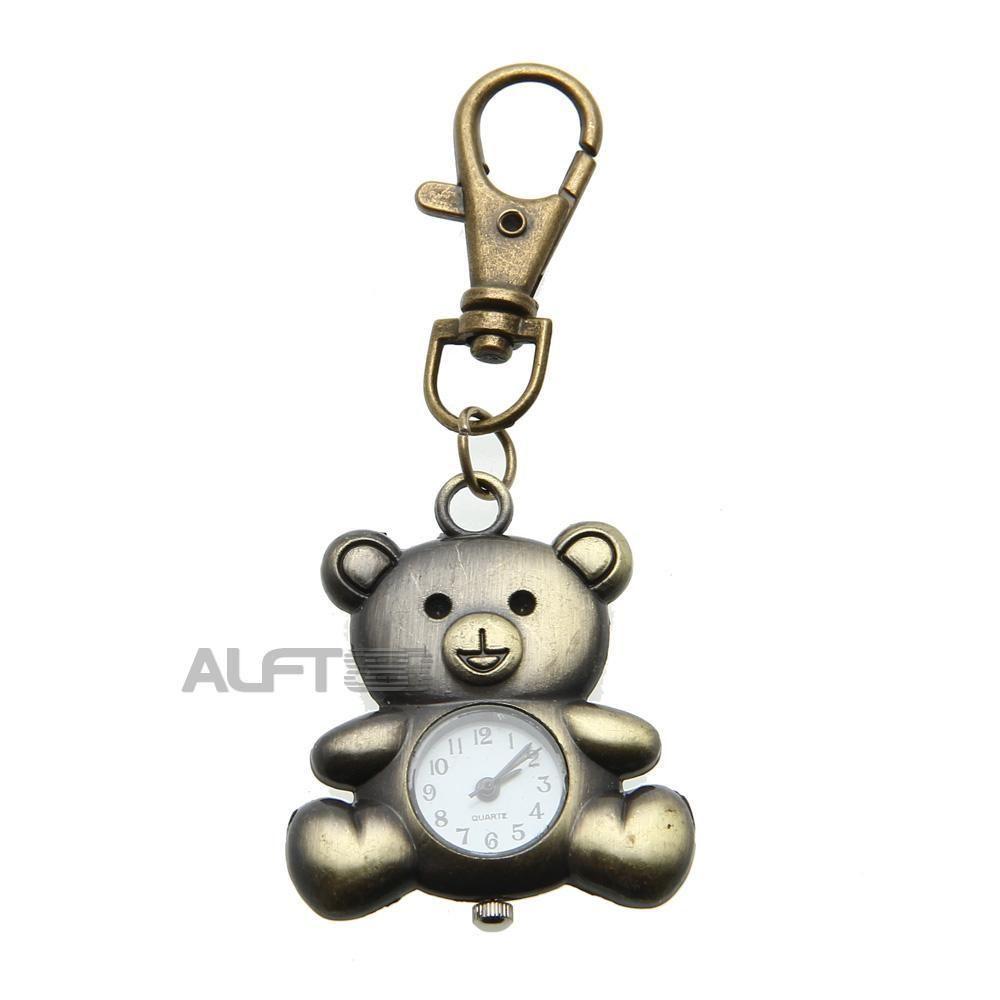 Elevenfy | Herrenuhr Taschenuhr Uhr Watch Quarzuhr Bronzefarbe Bärchen - Form Geschenk Süß