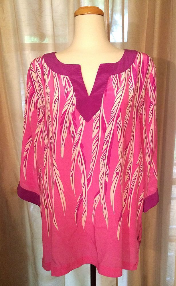 294a3de7edd664 Bob Mackie Wearable Art Silk Tunic Blouse Feather Design 3 4 Sleeve Sz XL  Pink  BobMackie  Tunic  Casual  Silk  Blouse  Fashion  Wearable  Art