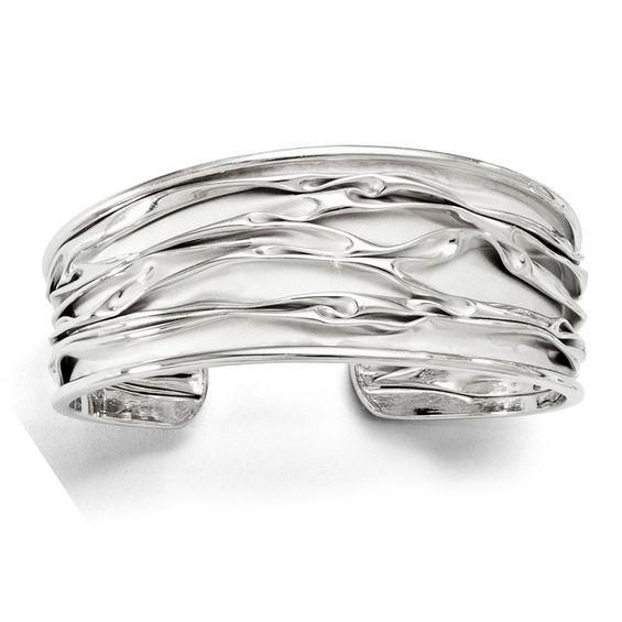 Zales 13.0mm Leaf Cutout Cuff in Sterling Silver j397WY0