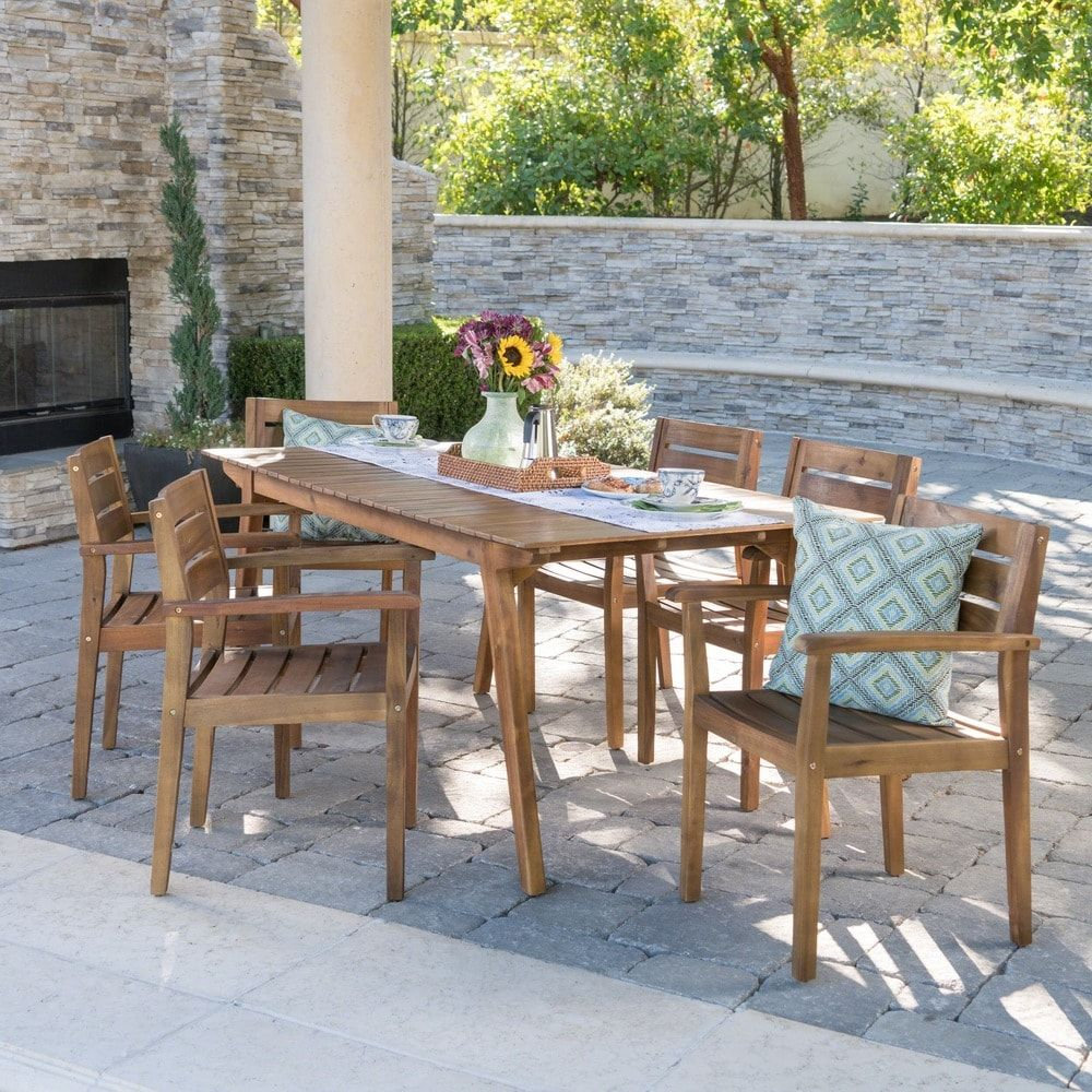 Taiga Outdoor 7 Piece Rectangle Wood Dining Set By Christopher Knight Home Teak Finish Brown Acacia Outdoor Furniture Sets Outdoor Dining Set Small Outdoor Spaces
