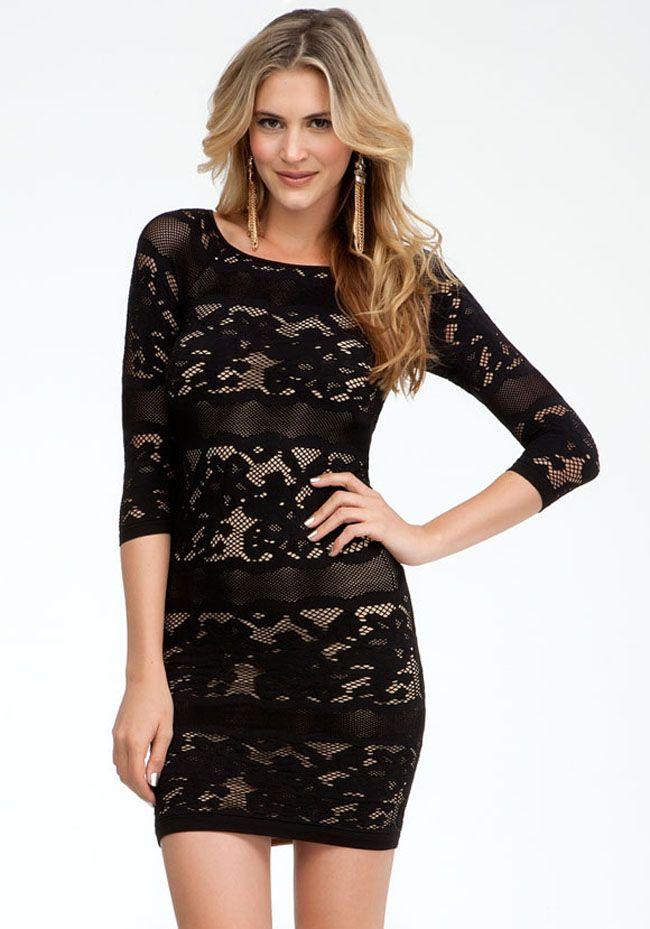 Long sleeve black lace dress bebe