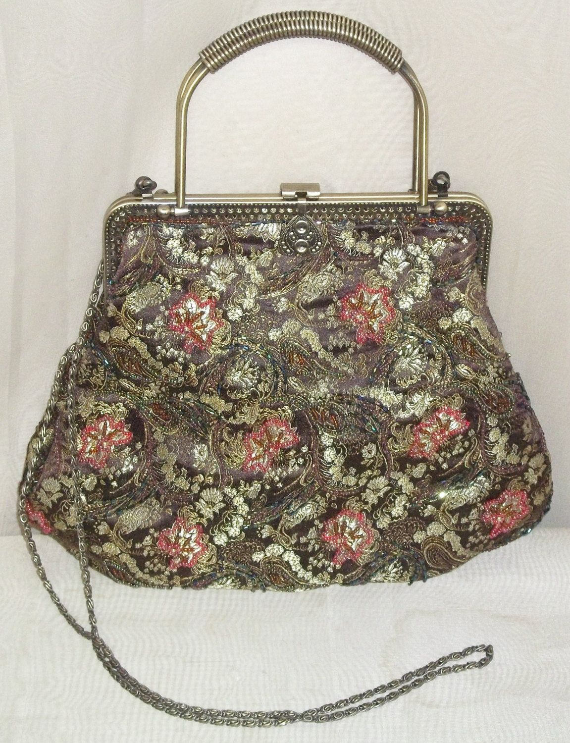 aa599a1b01 Vintage Beaded Evening Jacquard Purse Handbag Bag Clutch by ShonnasVintage  on Etsy