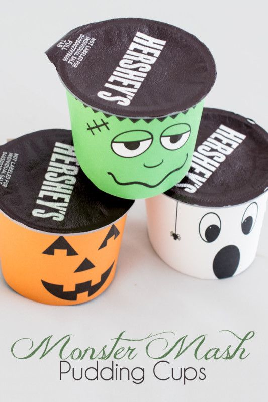 Halloween Lunchbox Pudding Snack {Free Printables Pudding cups - free halloween decorations printable