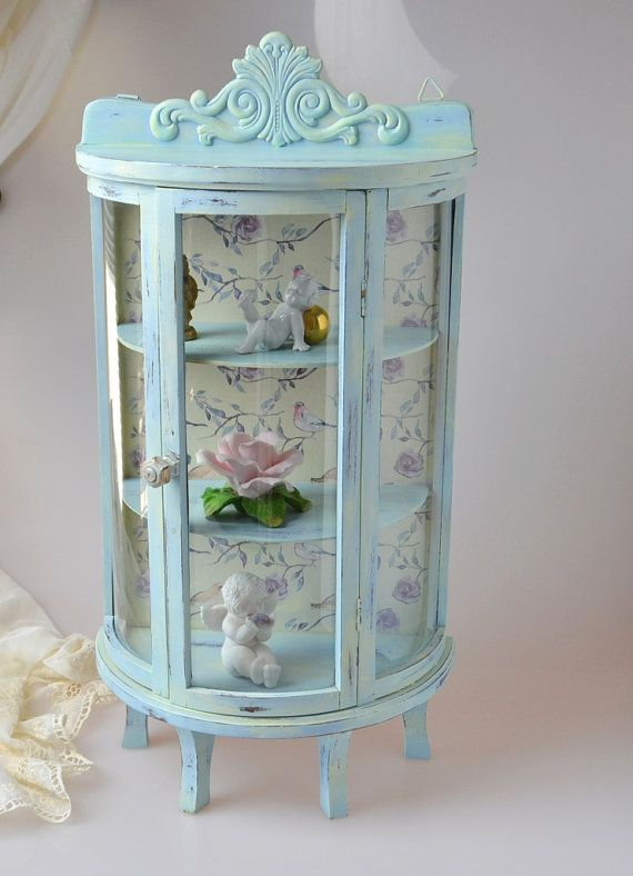 Shabby Chic Small Gl Display Case Curio By Ywart