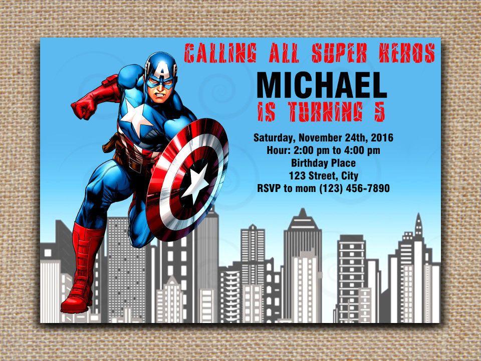 captain america printable invitation