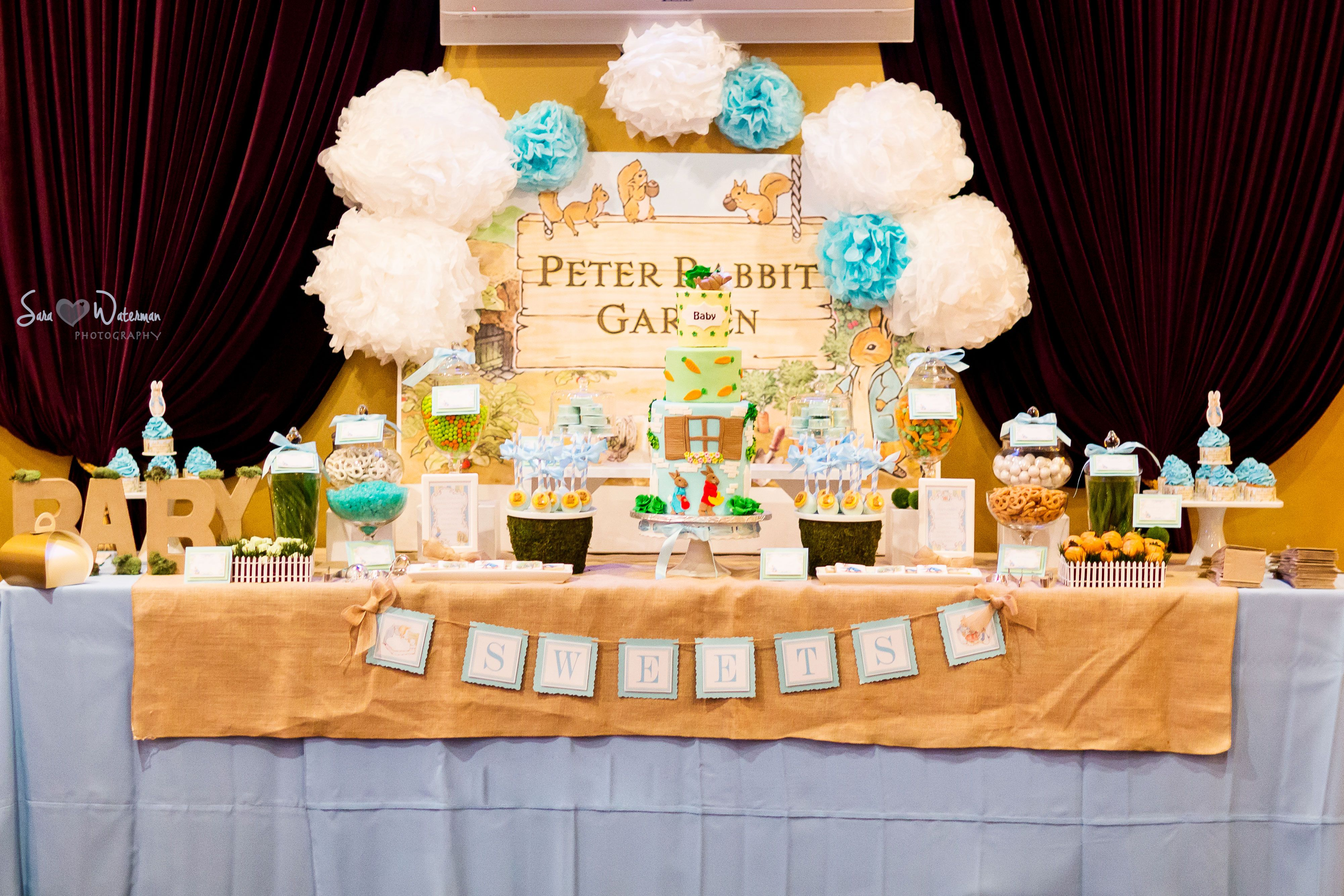 Peter Rabbit Baby Shower Dessert Table with themed sweets ...
