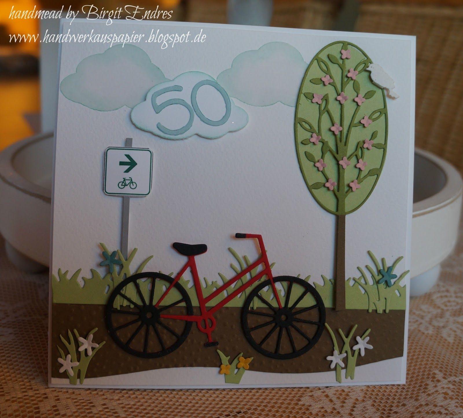 Fahrrad Karte.Handwerk Aus Papier Fahrradkarte Zum 50 Geburtstag Bicycle Cards