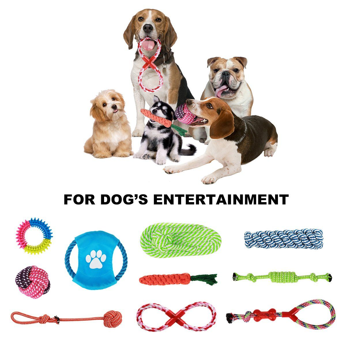 Dog Rope Toys Ciaraq 10 Pack Puppy Chew Toys Gift Set Dog Cotton