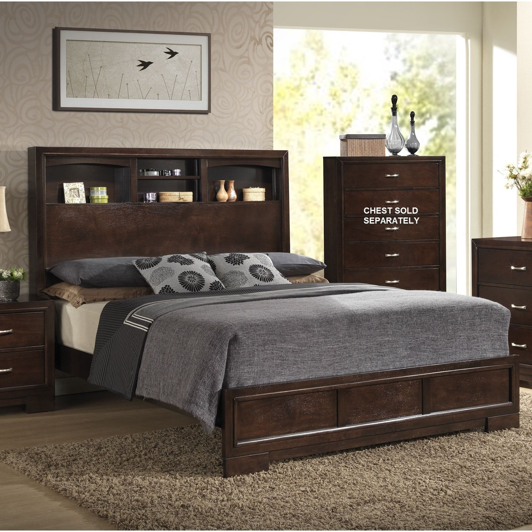 Walnut Wood Modern Queen Bed With Bookcase