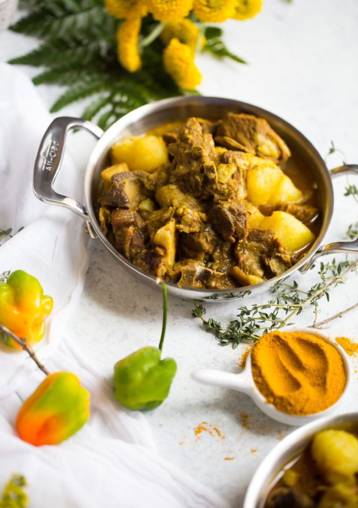 caribbean curry goat with rice and peas  recipe  curry