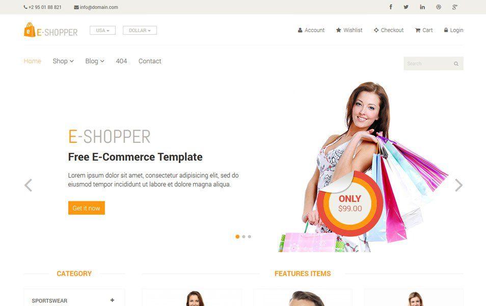 Eshopper Free Ecommerce Html Template Bootstrap Template Templates Website Template