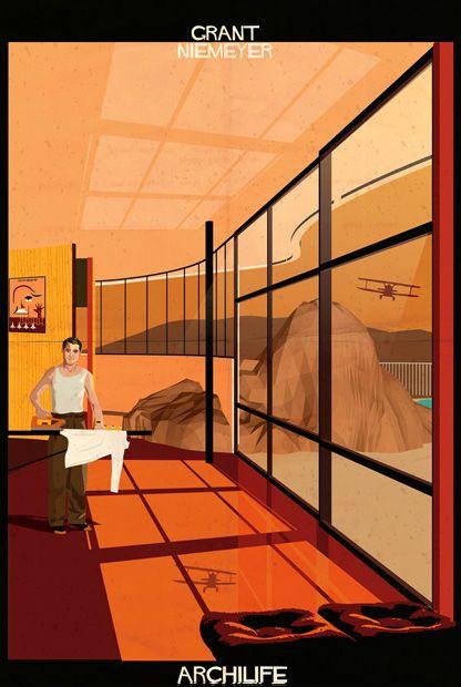 Cary Grant bügelt selbst in Oscar-Niemeyer-Architektur