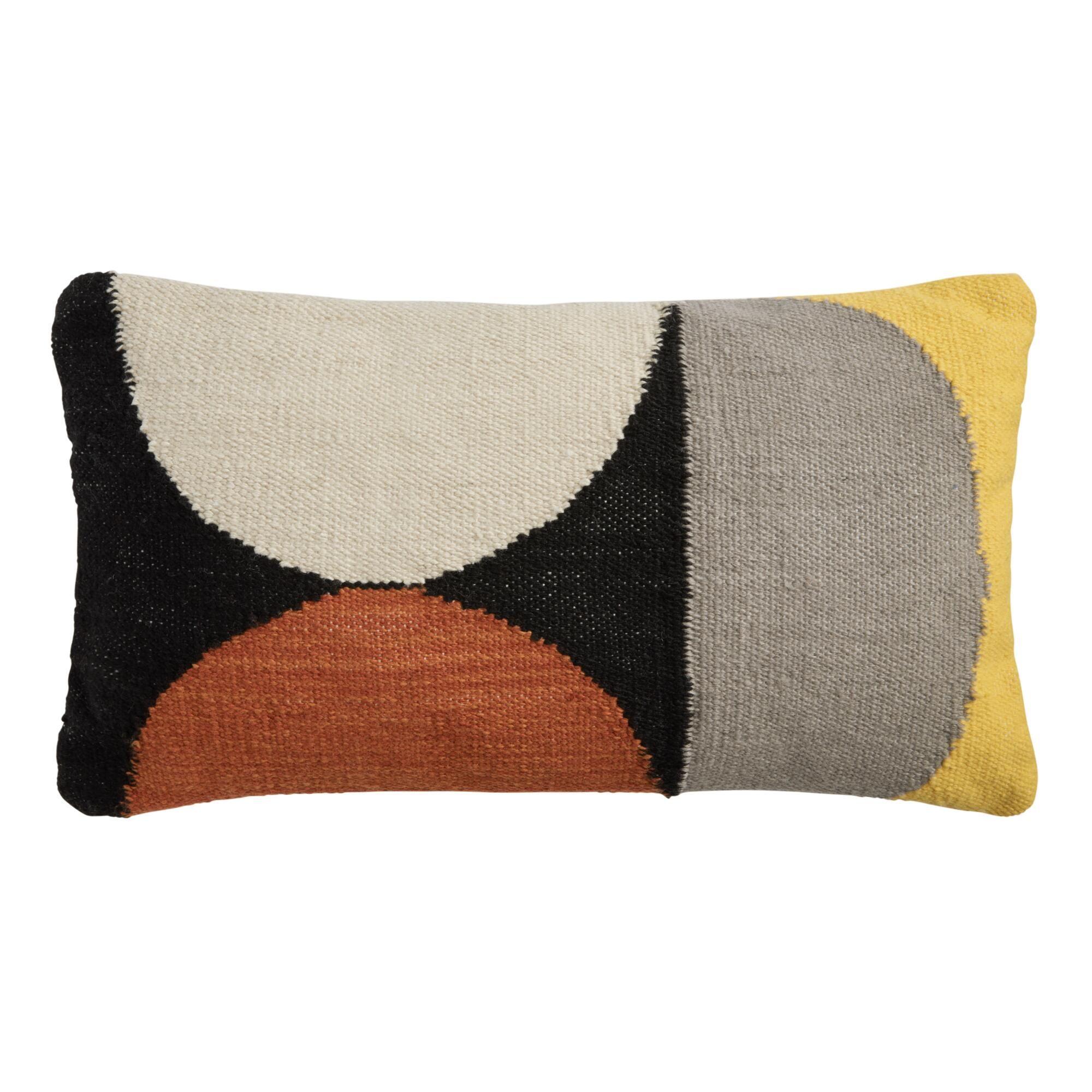 Woven Circles Indoor Outdoor Patio Lumbar Pillow By World Market Lumbar Pillow Mid Century Modern Pillows Outdoor Pillows