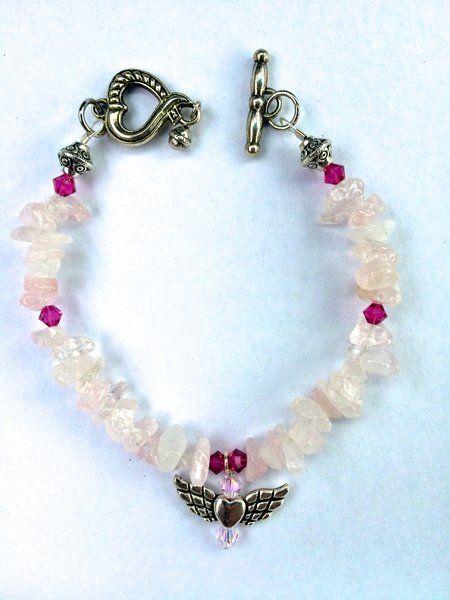 Heart Chakra Rose Quartz & Angel Wings Clasp Bracelet | Soul Sisters Designs Healing Crystal Jewelry, Accessories & Decor