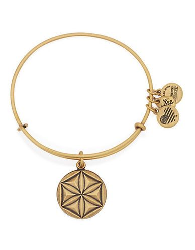 Alex And Ani Geo Flower Charm Bangle Bracelet Women's Gold