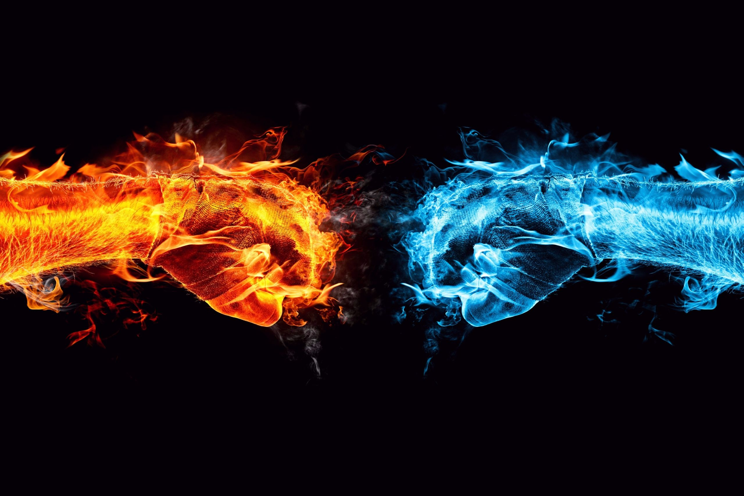 Fist Fight Fire And Water Hands Wallpaper For Desktop Cool