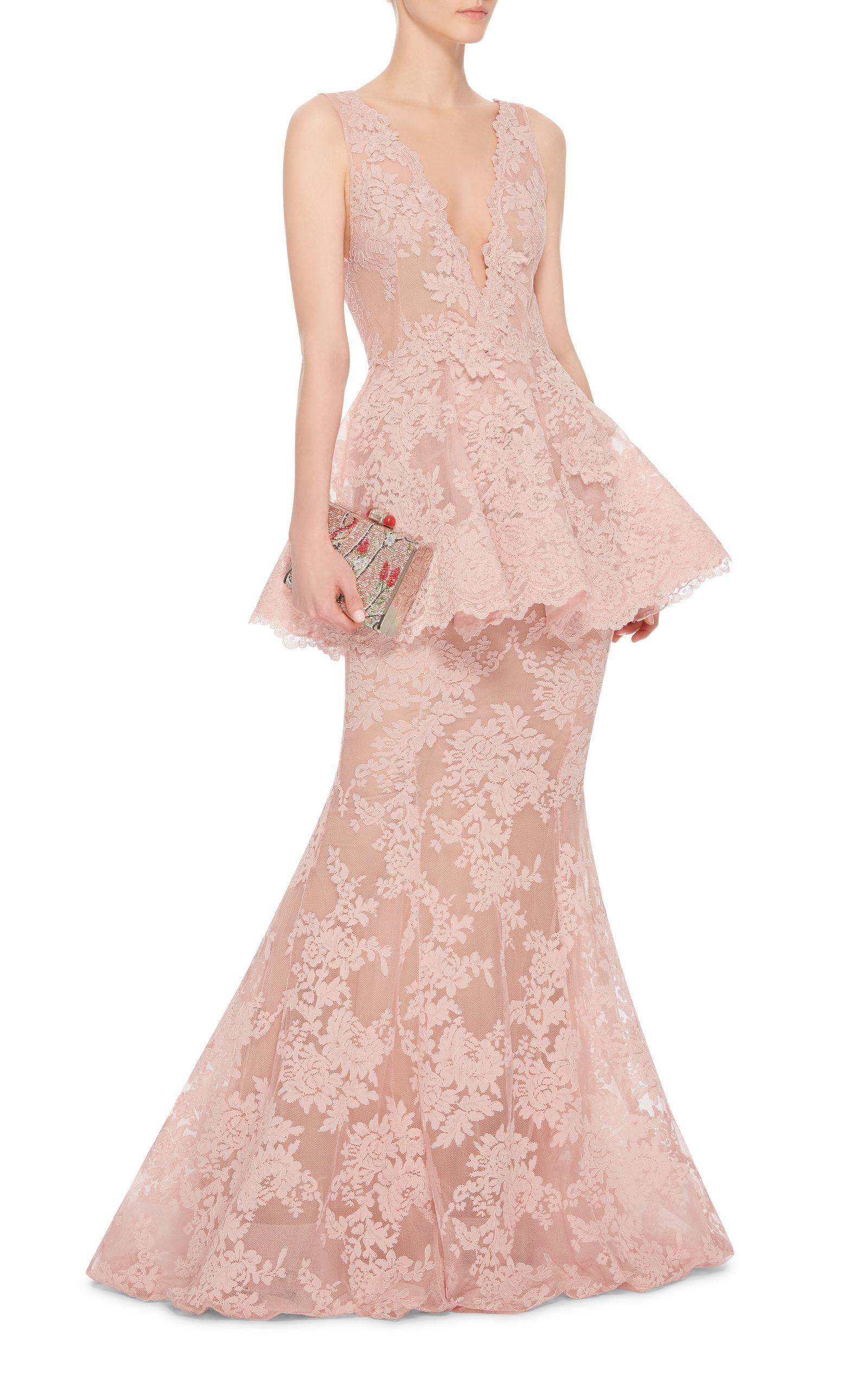 Marchesa Lace Peplum Gown   Dresses   Pinterest   Eventos