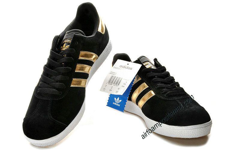Adidas Gazelle 2 Black Gold White #Black #Womens #Sneakers