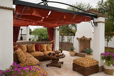 Alluring Pergola Canopy Designs Employing Beautiful Fabrics: Wonderful  Spanish Colonial Remodel Mediterranean Patio Design With Cream Colore.