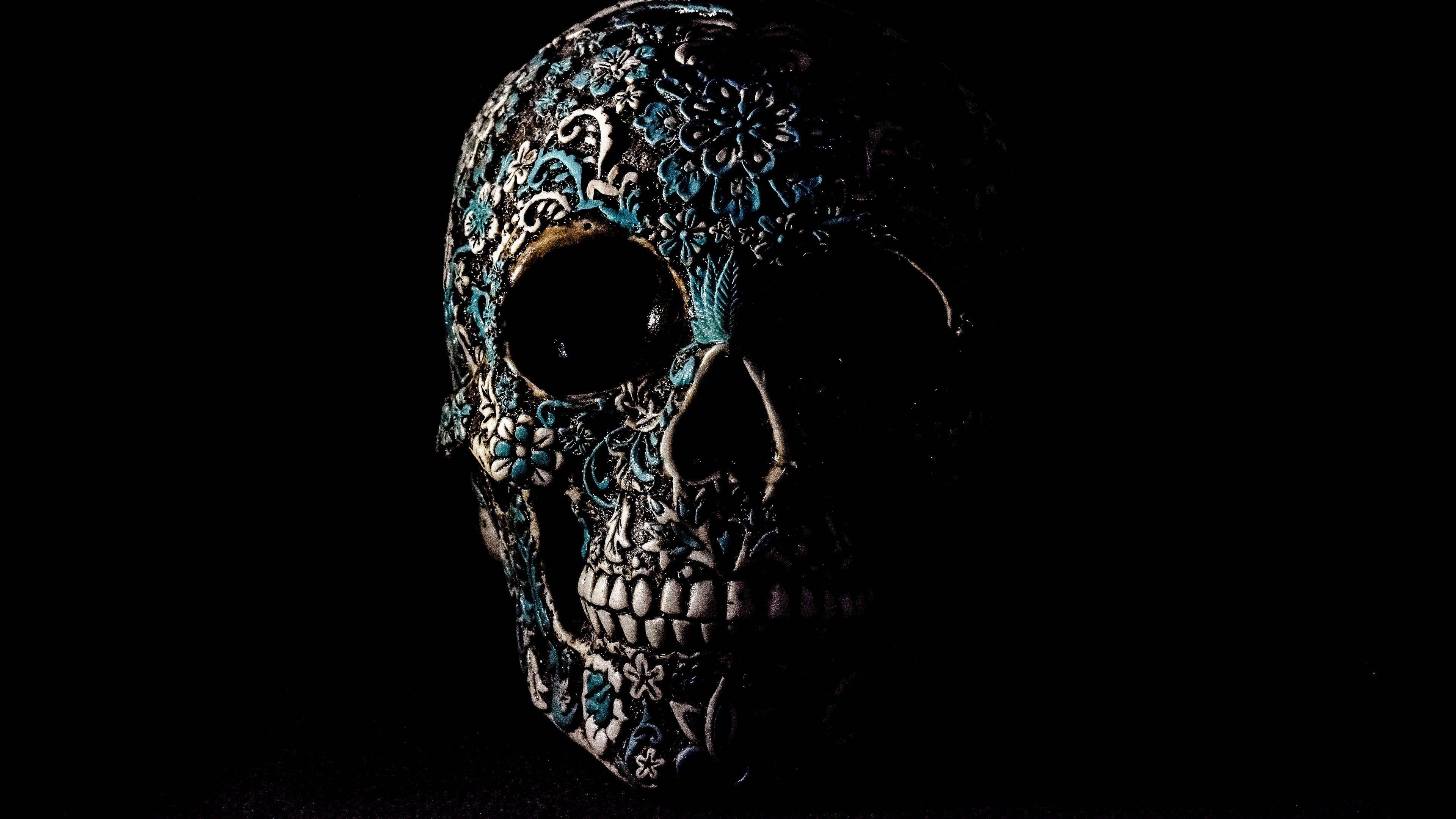 Creepy Scary Skull Bone Pattern Dark Mexican Human Skull Sugar Skull 4k Wallpaper Hdwallpaper Desktop Skull Wallpaper Skull Wallpaper