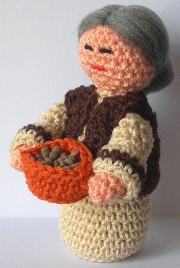 abuelita con cesta de lentejas