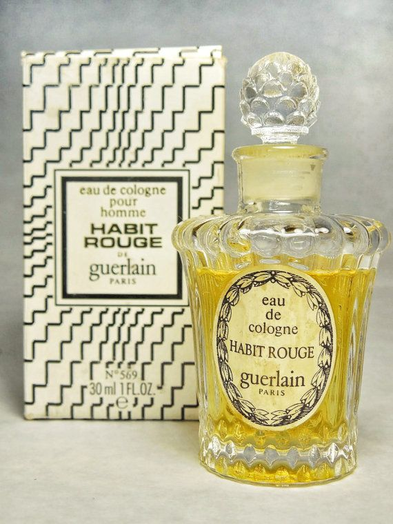Vintage Guerlain Habit Rouge Eau De Cologne Splash Louis Xvi Flacon 1 Fl Oz Perfume Old Perfume Bottles Beautiful Perfume Bottle