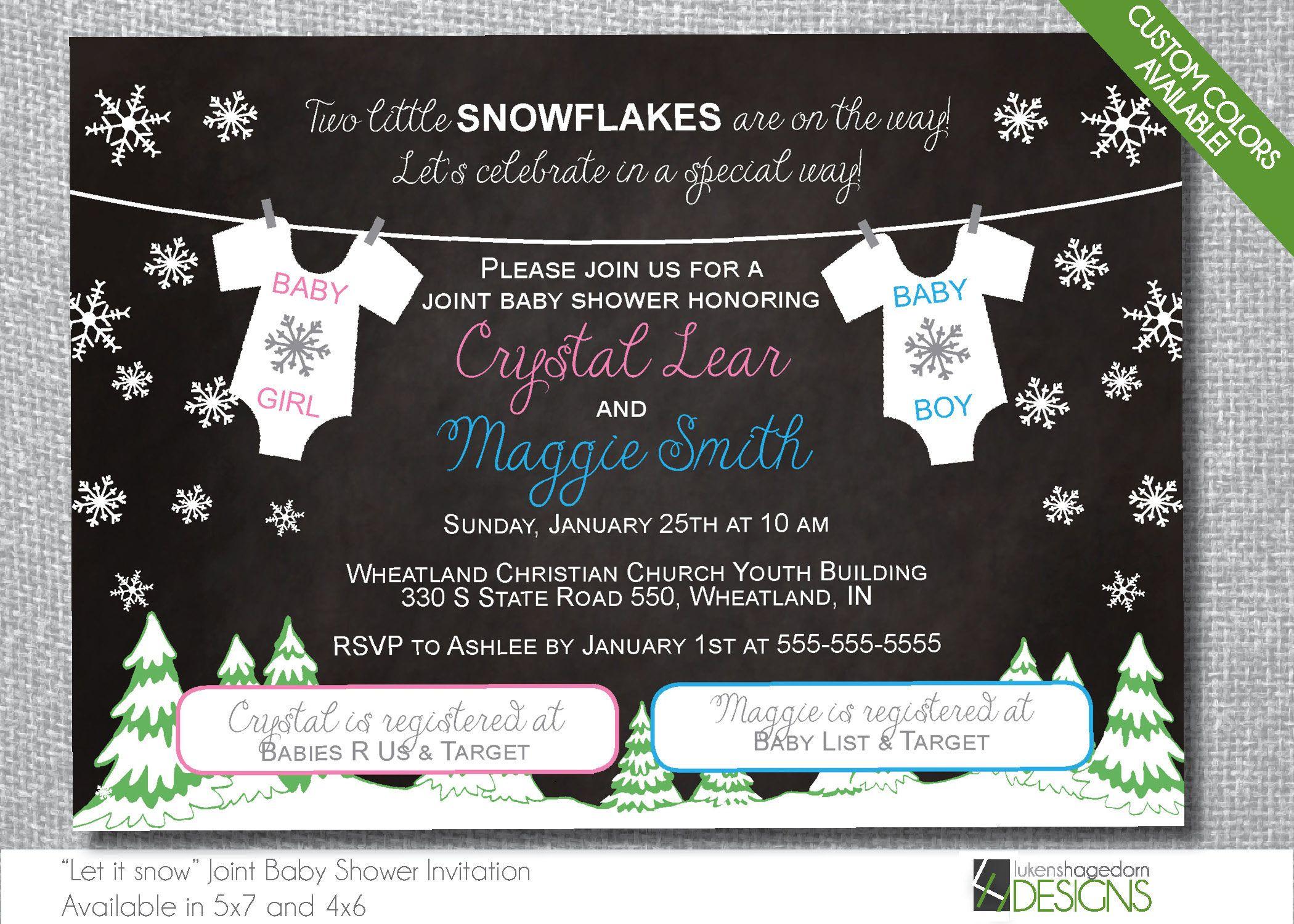 Winter Wonderland Double Baby Shower Invitation - Custom Colors ...