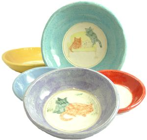 Colorful hand-thrown Pottery, American Made Cat Bowls