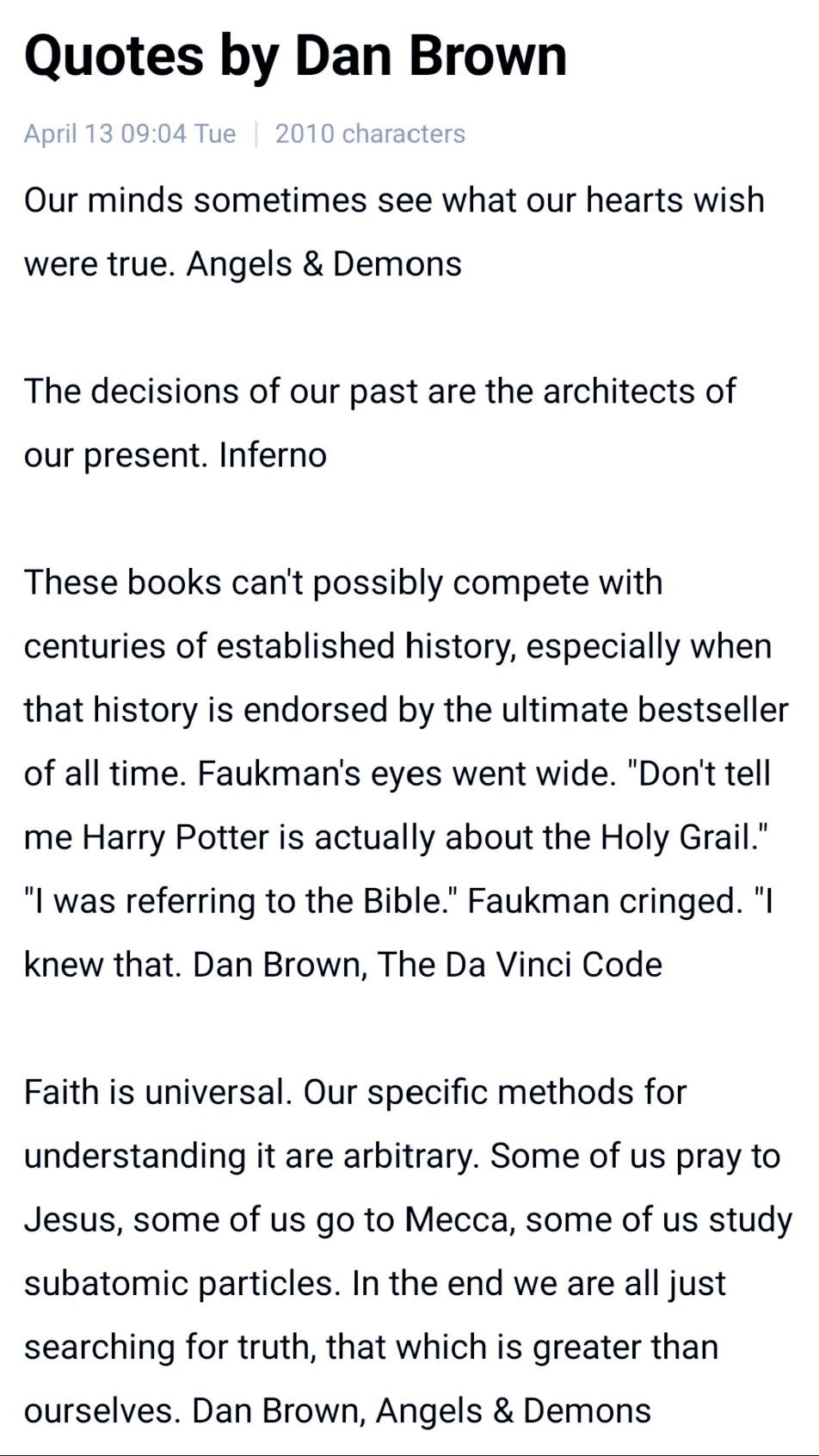 Video: Interesting Quotes By Dan Brown