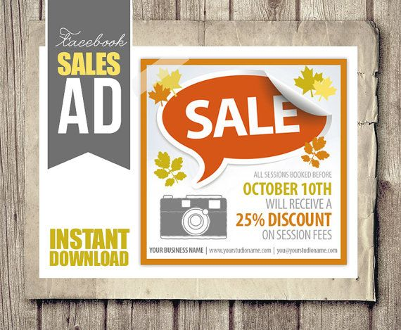 Sales Ad for Facebook Autumn Sale Discount by StudioTwentyNine - For Sale Ad Template
