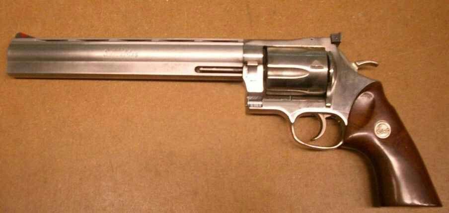 357 Dan Wesson Revolver with a muzzle break compensator on the end
