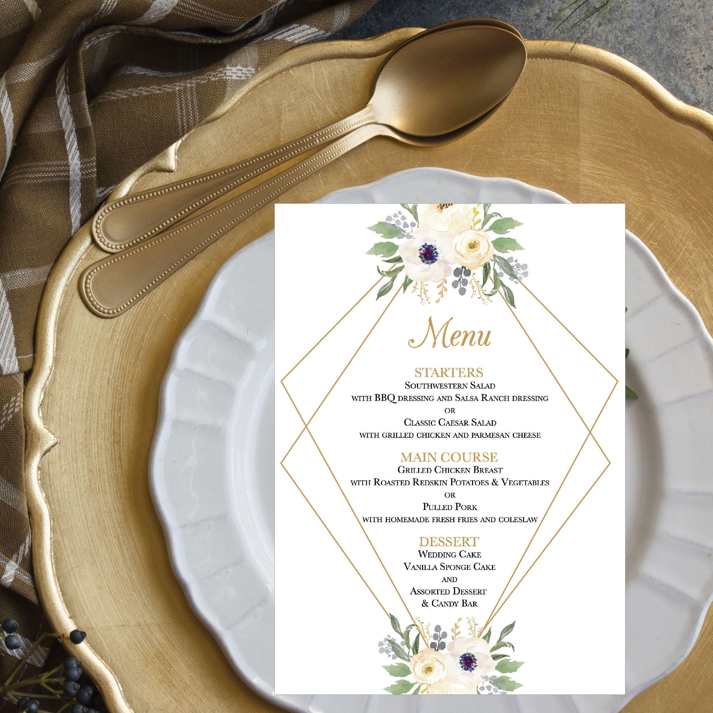 White and Gold Floral Wedding Menu Template, Modern Geometric 5x7 ...