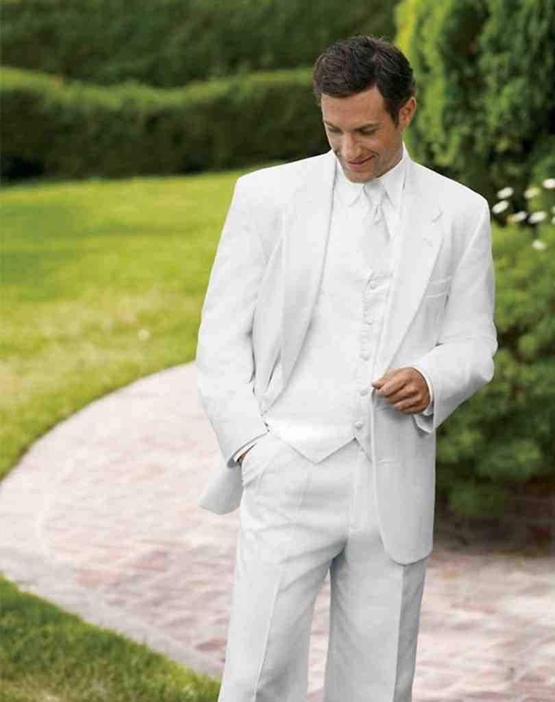 Men Suit 3 Piece Suits Groom Tuxedo White Custom Made Tailor Wedding Formal Wear 2016 High Quality