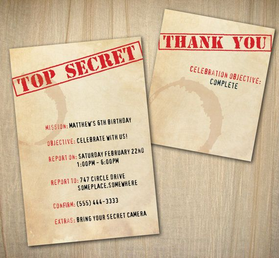 Top Secret Mission - Birthday Party Invitations in Truffle - best of invitation letter of conference