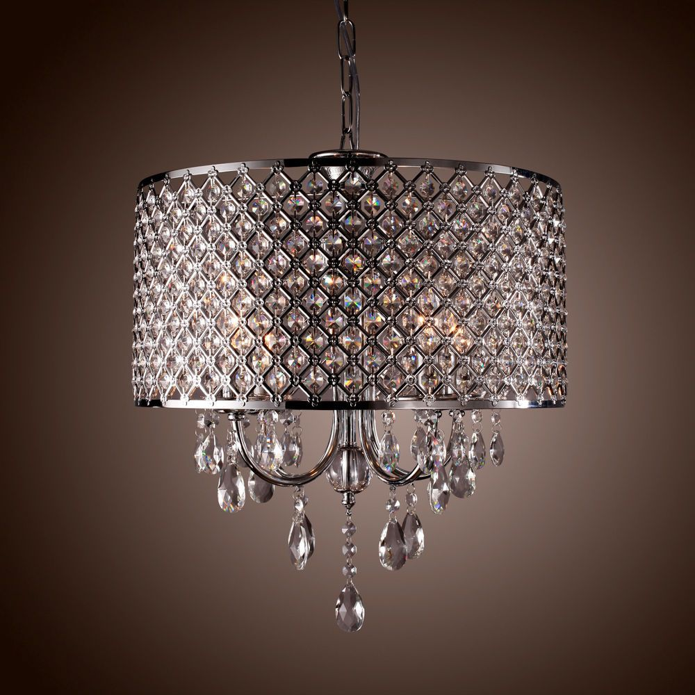 Drum chandelier crystal modern 4 lights ceiling light fixture lamp pendant light ebay