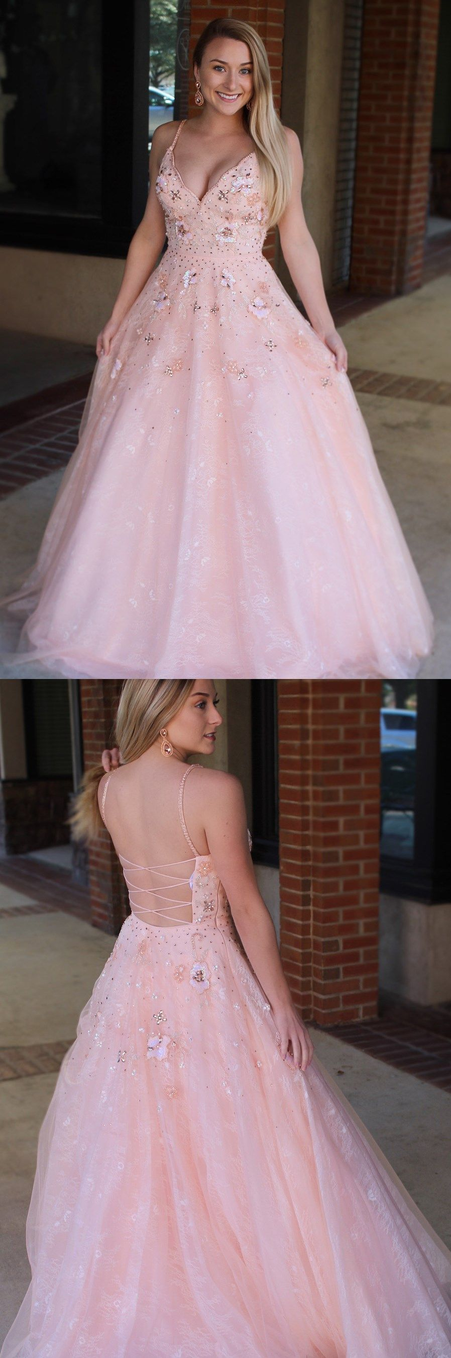 Princess straps pink long prom dress sweet dresses in gowns