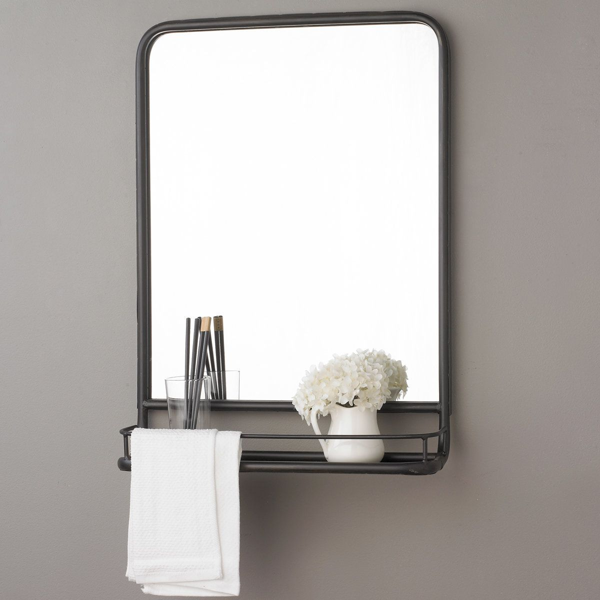 Metal mirror with shelf small metal mirror pharmacy for Bathroom vanity mirrors