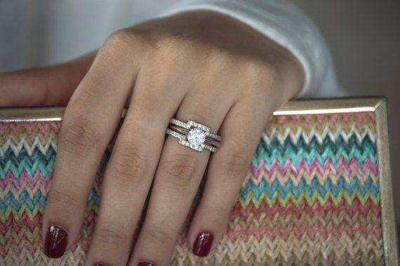 Square Halo Style Ring Guard Enhancer Wedding Ring Guard