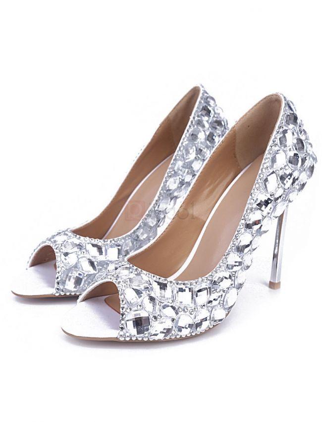 Big Glittering Diamonds Decorating Banquet High Heel Shoes