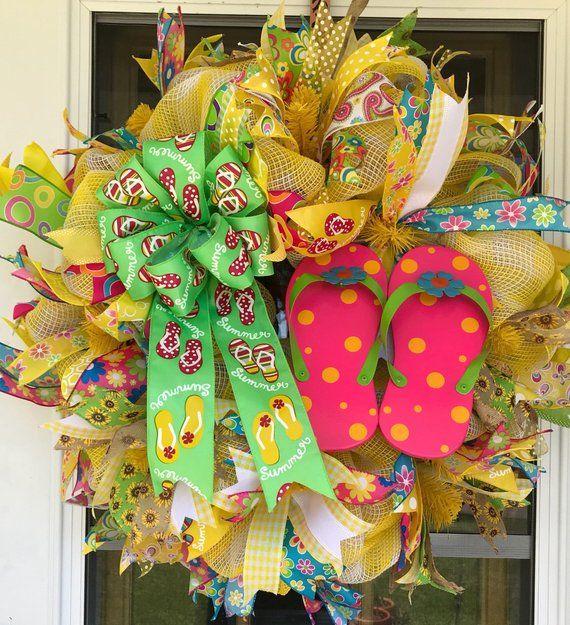 a47e8b73e395c5 Flip Flop Deco Mesh Wreath Spring Summer Yellow White Blue Green Pink XLarge