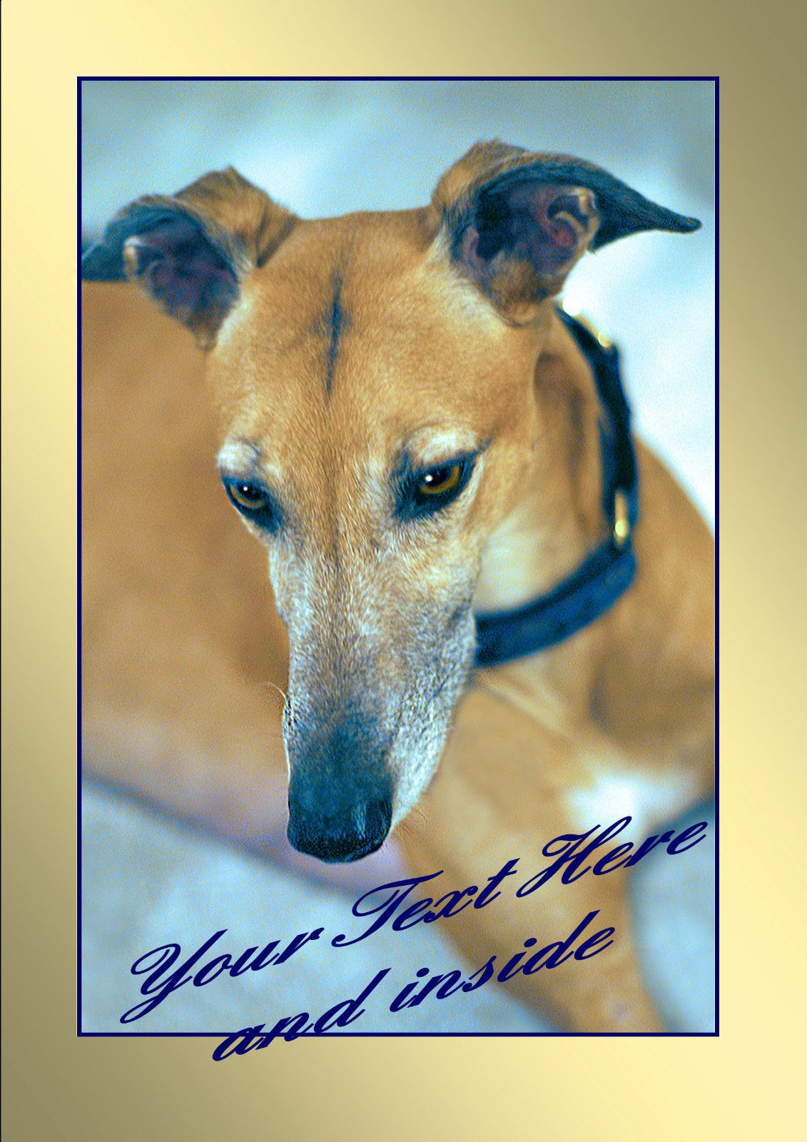 PERSONALISED GREYHOUND LURCHER WHIPPET BIRTHDAY ANY OCCASION CARD insert