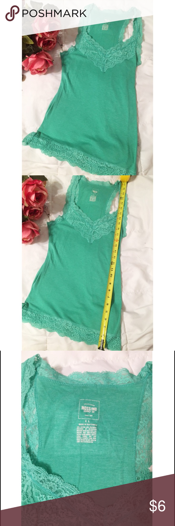 """Spring Top with Lace Trim 🌸 Perfect for Spring!🌸🌺🌷Mossimo Top size large, length 27inches---it's a pretty long torso for me and I'm about 5'2"""". Great color, no snags in lace. Very good condition just making room for more stuff!!! 💚💛 Mossimo Supply Co. Tops Tank Tops"""